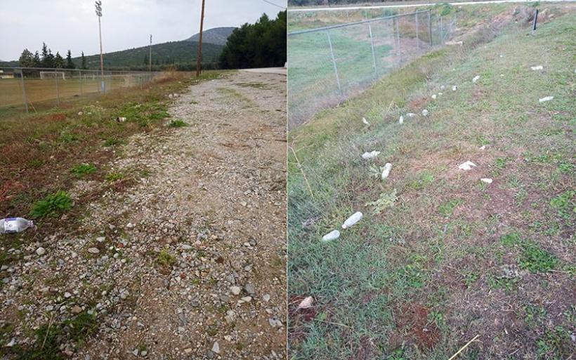 Πλαστικά και σκουπίδια στον περιβάλλοντα χώρο του γηπέδου Σούρπης