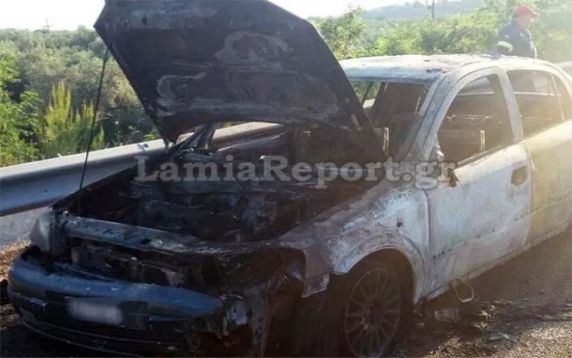 Περιπέτεια για ζευγάρι με μωρό από τον Αλμυρό – Το αυτοκίνητό τους κάηκε ολοσχερώς (photos)