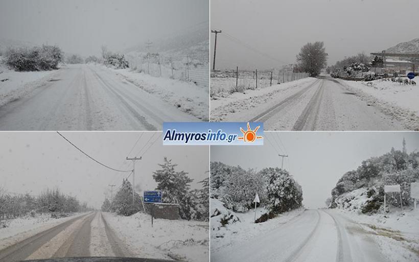 Επέλαση του χιονιά -Σε λευκό κλοιό η επαρχία Αλμυρού (βίντεο&φωτο)