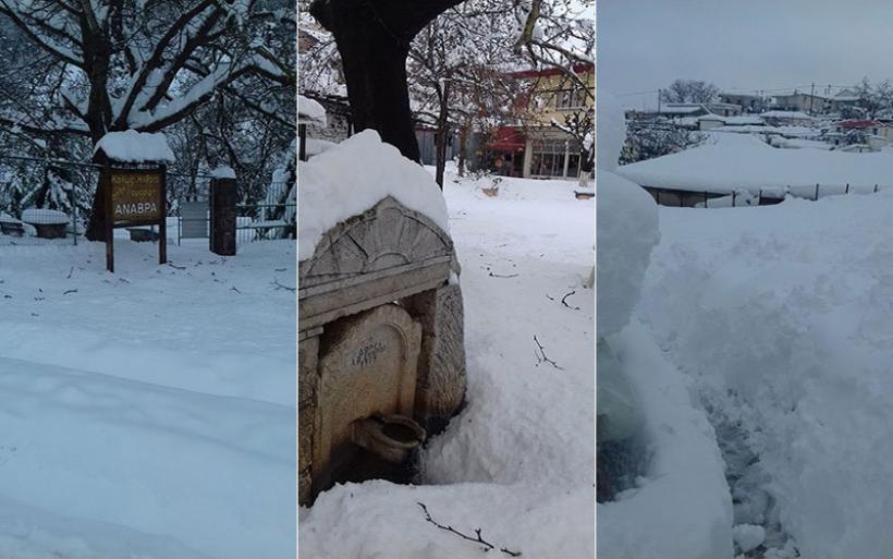 Ξεπέρασε το μισό μέτρο το χιόνι στην Ανάβρα (φωτογραφίες)