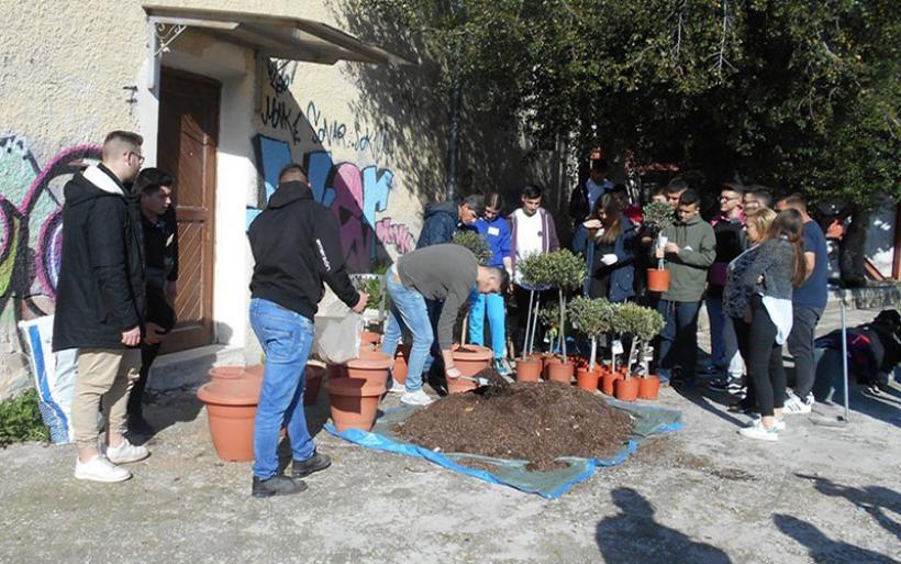Μαθητές του ΕΠΑΛ Αλμυρού ομόρφυναν με δέντρα και φυτά το κτίριο Μουρτζούκου στο Βόλο