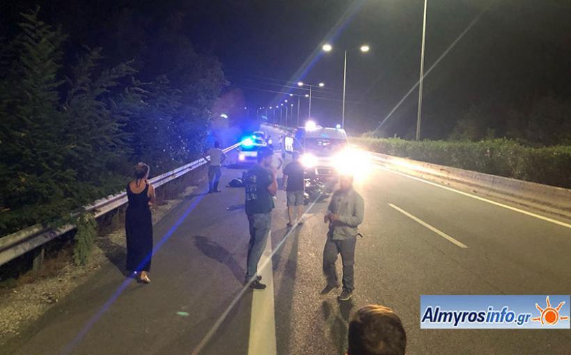 Δικυκλιστής τραυματίστηκε σε τροχαίο κοντά στον Αλμυρό (φωτο)