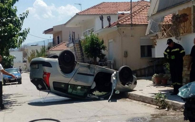 Ανατροπή αυτοκινήτου στον Αλμυρό