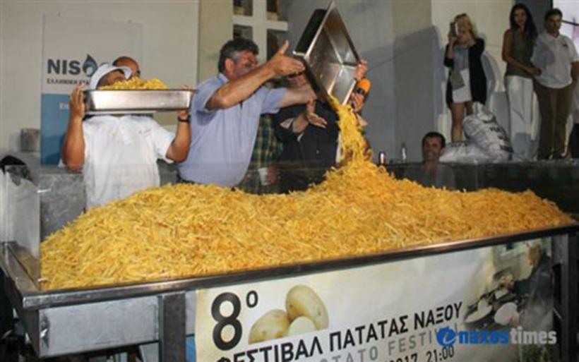 Έσπασε το ρεκόρ Γκίνες τηγανητής πατάτας η Νάξος