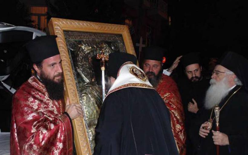 Υποδοχή Ιεράς Εικόνος Παναγίας Ξενιάς στον Ναό του Αγίου Κωνσταντίνου