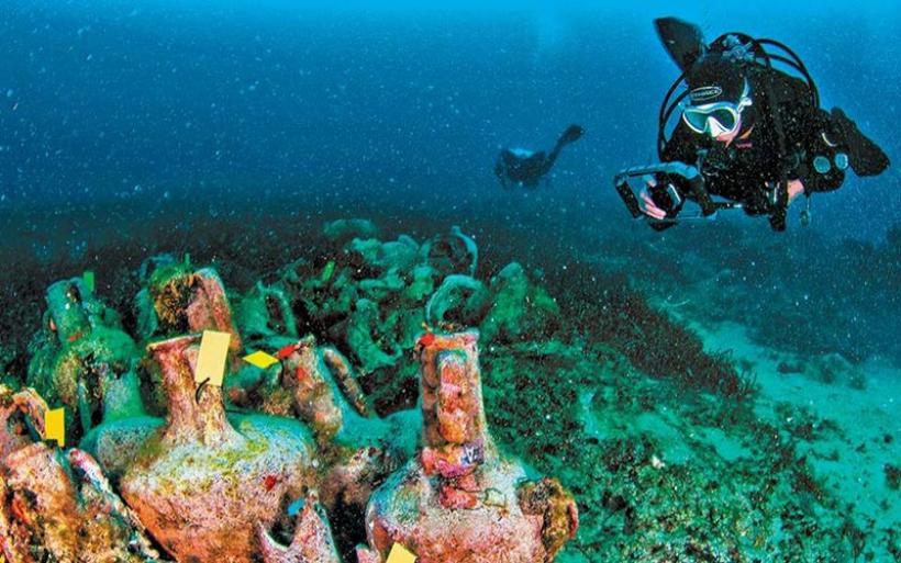 Καταδυτικό ντουέτο Ρουβάς - Αγοραστός στην Αλόννησο στα εγκαίνια του υποβρύχιου μουσείου Περιστέρας