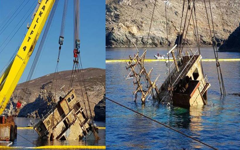 Εντυπωσιακές εικόνες από την ανέλκυση ναυαγίου στην Άνδρο