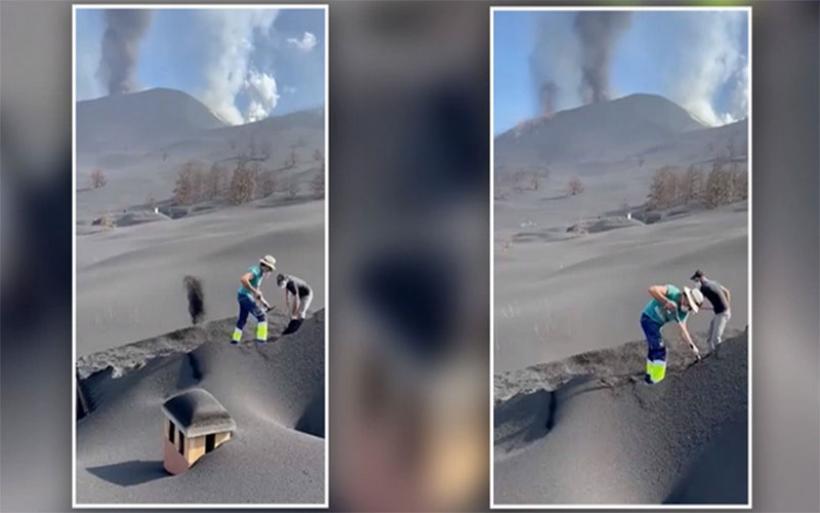 Λα Πάλμα: Εθελοντές πασχίζουν να ξεθάψουν σπίτια από «βουνά» γκρίζας στάχτης