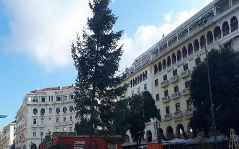 Θεσσαλονίκη: Στήθηκε το χριστουγεννιάτικο δέντρο στην πλατεία Αριστοτέλους
