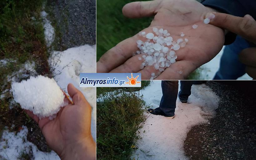 Ζημιές από το χαλάζι σε καλλιέργειες στην περιοχή του Αλμυρού (φωτο&βίντεο)